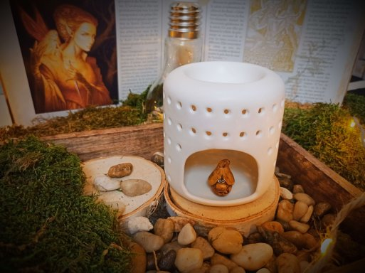 brûle-parfums en céramique laquée pour fondants parfumés - Modèle Coliseo blanche