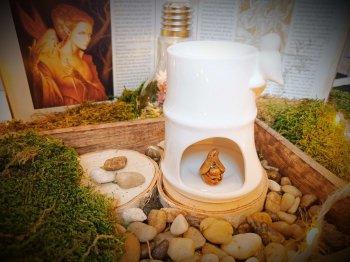 brûle-parfums en céramique pour fondants parfumés - modèle bambou blanc avec un petit oiseau