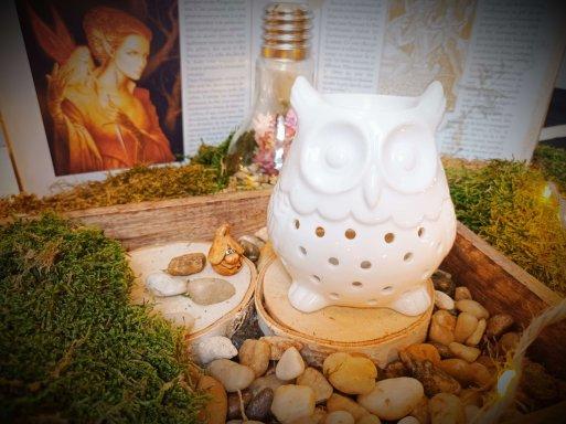 brûle-parfums pour fondants parfumés hibou blanc