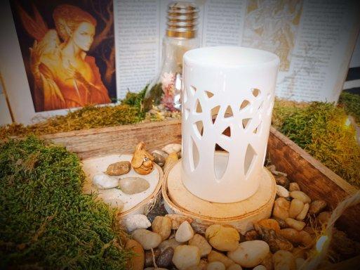 brûle-parfums en céramique pour fondants parfumés - modèle forêt blanc