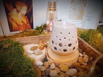 brûle-parfums loob gris pour mini fondants parfumés aux essences elfiques