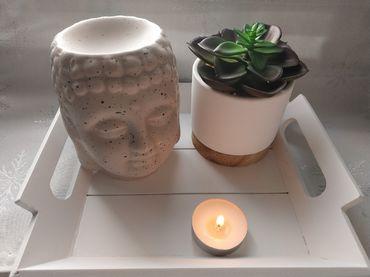 Brûle-parfums pour fondants parfumés Bouddha Beige