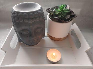 Brûle-parfums pour fondants parfumés Bouddha Gris